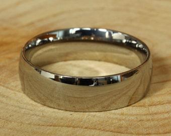 Titanium High Quality 6mm wide court shape/Comfort Fit Mens / Womens Plain band Wedding Ring
