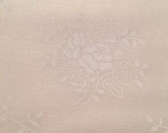 White fabric by the yard - white on white fabric - White on white floral scroll cotton fabric by the yard #16416