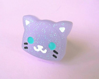 Purple Kitty Ring -Kawaii-Creepy Cute -Fairy Kei-Pastel- Sweet Lolita -Pastel Kei