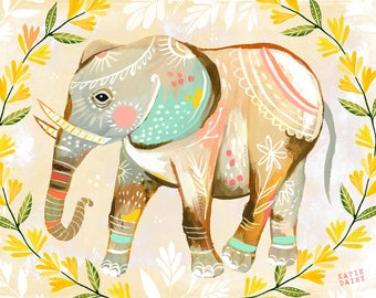 Elephant - various sizes - STRETCHED CANVAS - Katie Daisy Art