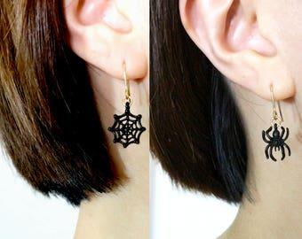 Spiderweb Earrings, Cobweb Earrings, Spider Earrings, Halloween Earrings, , Spider Jewelry, Halloween Jewelry, Fun Earrings, Black Earrings