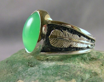 Chrysoprase at Two Feather Bridge Ring, Chrysoprase Apple Green Ring, Sterling Silver