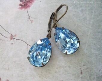 Bella -Estate Styled Crystal Earrings - Aquamarine Crystal Bridesmaid Earrings - Something Blue Earrings - March Birthstone