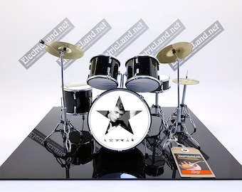 mini Drums kit DAVID BOWIE BLACKSTAR fan tribute album miniature memorabilia drummer drum set batteria trap ziggy stardust