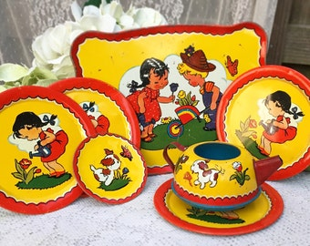 7 pc Mid Century Tin Litho Garden Tea party set, Ohio art, teapot tray & dish Plates, child's Toy, retro, nursery decor