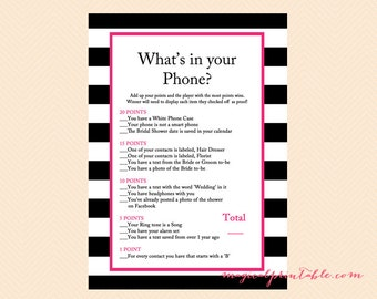 Whats in your phone, cellphone game, Hot Pink, Black White Stripes Bridal Shower Game, Modern Bridal Shower Games, Wedding Shower Games BS22