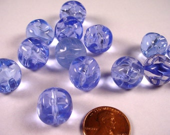 14 Vintage Blue Lucite Dimpled Rounded Square Beads 15x12mm