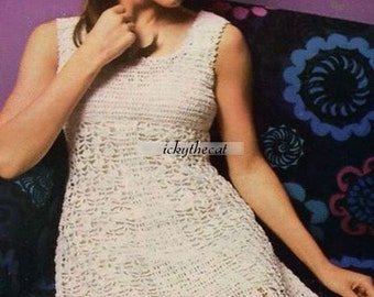 Vintage Crochet Pattern 1970's to make a Ladies Chic Mod Empire Line Mini Dress PDF for Immediate Digital Download