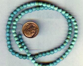 "NEW 6mm Beautiful Magnesite Turquoise Round Beads 16"" Strand"