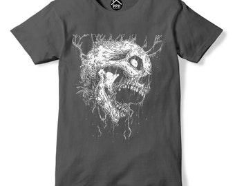 Side Skull Death Metal Art Tshirt Band Music Rock T Shirt Top Goth Emo Black 359