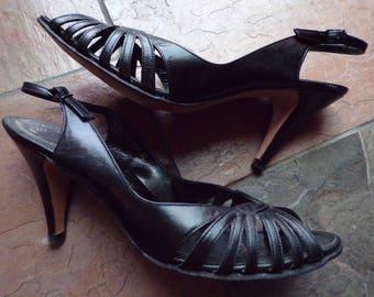 STANLEY PHILIPSON HEELS black leather peep toe slingback 9.5 narrow 9M
