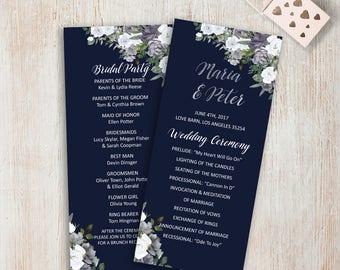 Printable Wedding Ceremony Program Silver Wedding Programs Navy and Silver Wedding Decoration Navy Wedding Program Card Digital Download DIY