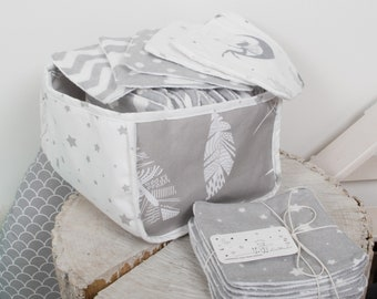 30 or 60 reusable wipes, flannel + terrycloth, washable cloth wipes, baby bath wipes, nappy wipes, bamboo cloth diaper tissues