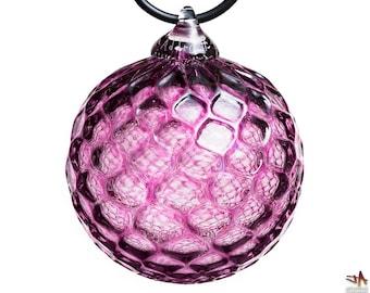Hand Blown Glass Ornament - Transparent Heliotrope Purple with Diamond Pattern