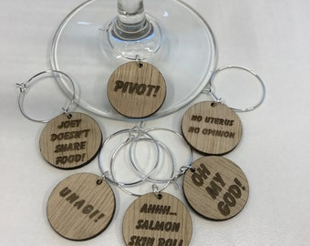 Friends TV Show Wine Charms - Set of 6 Different Phrases - WC003