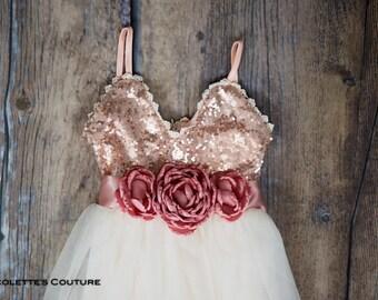 Ivory Tulle Flower Girl Dress, Rose Gold sequin dress, Cream Tulle, Rose Gold Ivory Cream Wedding, Sash Belt, Gold glitter, Boho Chic Tutu