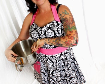 Damask Apron Retro Style with Pink Pin Dot Sweetheart Neckline