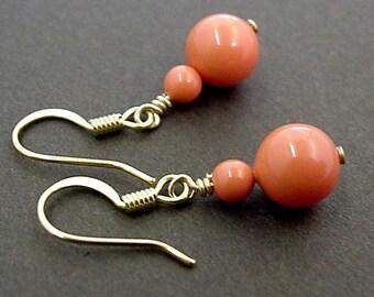 coral pearl earrings - Coral bridesmaid earrings - Coral earrings - bridal earrings - peach- salmon -pearl earrings- bridal jewelry - orange