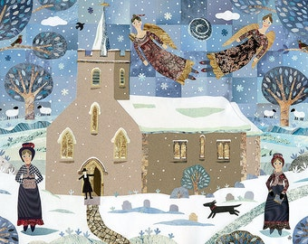 Jane Austen Christmas Card, Church, Snow, Dog, Christmas Angels, Snowscape, Holiday, Traditional Christmas, Amanda White Design, Collage