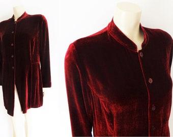 Vintage Velvet Silk Tunic, UK12, Vintage Clothing, Eveningwear, Velvet Top, Velvet Blouse, Mulberry Velvet, Clothes, Women's Vintage