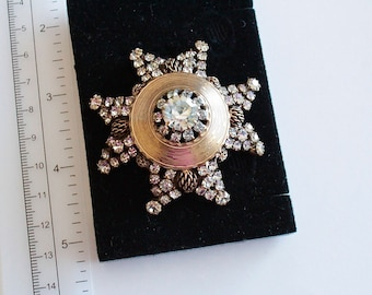 Unsigned Statement  Maltese cross    Pendant/ Brooch  with clear rhinestones#1151