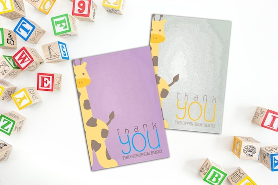 Giraffe Thank You Note (Set of 10), Thank you Cards, Personalized Thank You Cards, Fun Cards, Family Thank You Cards