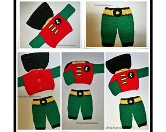 Baby Crochet Pattern, Crochet pattern baby boy, Baby Robin, Super Hero Cape, Baby Cape, Robin Costume, Super Hero Pants, PDF Pattern