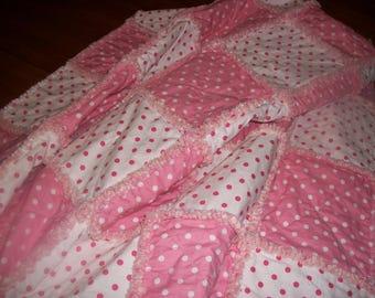 Ragged Lap Quilt - Pink
