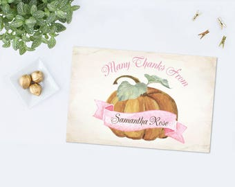 PRINTABLE FALL PUMPKIN Thank You Card, Fall Baby Shower, Little Pumpkin, Instant Download, Autumn Printable, Birthday Party, pdf Template