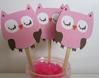 Light Pink & Brown Owl Toppers