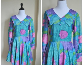 Vintage Psychadelic Full Skirt Floral Dress - Vintage Bright Sparkly Dress - 70s Womens Clothing