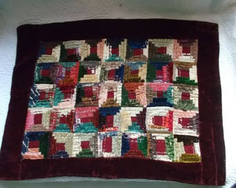 Antique Victorian Log Cabin Multi-Colored Doll Quilt