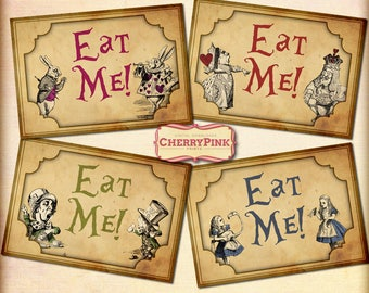 Wonderland party Eat Me Tags, Alice, Mad Hatter, White Rabbit, tea party decoration, printable Instant Download,