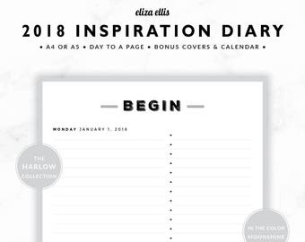 2018 DAILY PLANNER / A4 Daily Planner / A5 Planner / Daily Planner / Inspiration / Day Planner / The Harlow Planners in Moonshine / 406