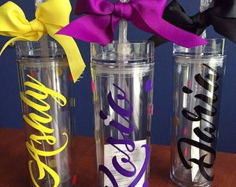 Personalized tumbler, Bridesmaid Gift, Bridesmaid Water Bottle, Personalized Tumbler with straw, Office Gift,Customer Gift, Team Gift