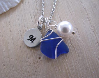 Tiny Cobalt Blue Sea Glass Necklace With Swarovski Pearl and Hand Stamped Initial Letter Personalized Necklace Sea Glass Jewelry