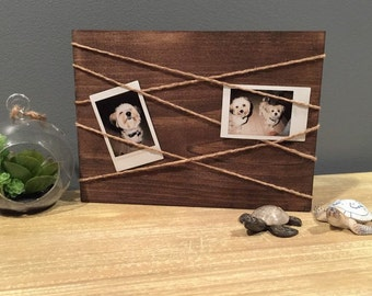 Wooden Picture Display With Twine/Jute
