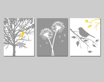 Yellow Gray Grey Bird Tree Nature Floral Nursery Art Trio - Bird in Tree, Abstract, Dandelions - Set Three 11x14 Prints - CHOOSE YOUR COLORS