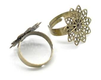 1 flower 10 petals ring Bronze 17.5 mm