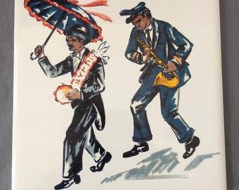 """Jazz Band Grand Marshall 6"""" x 6"""" Porcelain Tile Trivet"""