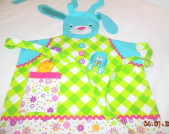 Floppy Bunny Ears  Girls Apron with matching Bunny stuffed toy