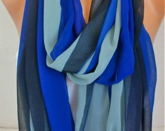Mother's Day Gift,Royal blue Chiffon Infinity Scarf,Cowl,Circle Loop Scarf Gift Ideas For Her,Women Fashion Accessories,clothing gift