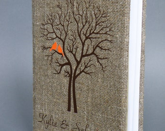 Wedding Guest Book / Wedding Book / Rustic Wedding Guest Book /  Linen Guest Book Size 6.1 inches X 8.3 inches Brown tree orange birds