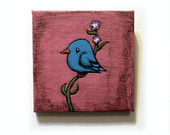 Blue Bird Painting - Original Small Wall Art Acrylic Bird Painting on Canvas by Karen Watkins - 4x4 Inches Bird on a Branch Home Decor