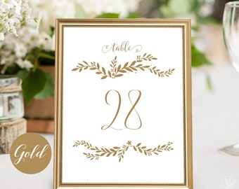 Gold Wedding Table Numbers 1–40, Reserved and Head Table Signs Included, Rustic Table Numbers, Two Sizes 5x7 and 4x6, VW47