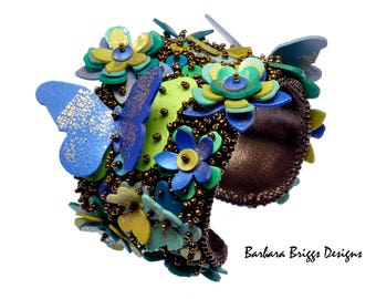 "The ""Fleurs et Papillons"" Bead-Embroidered Cuff Kit"