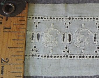 Vintage Embroidered Eyelet Trim, Antique Victorian Lace 1800s, 14 yards 2 inches wide