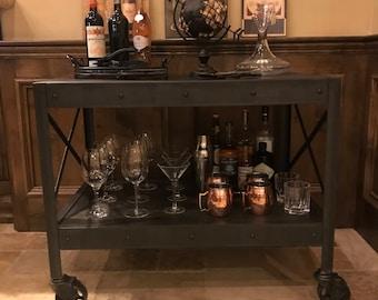 Industrial coffee table, display cart