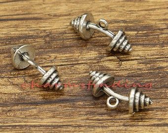 15pcs Barbell Charms 3D Fitness Workout Charm Antique Silver Tone 20x9mm cf1262