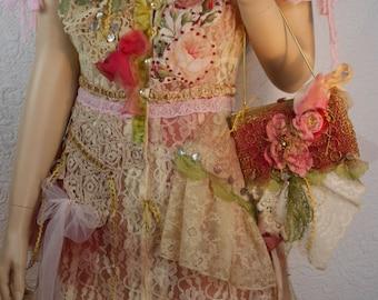 "SET Cream lace dress ""Songes et Roses"" and ""Purse"", very romantic and feminine, wearable art, Boho dress, Unique"